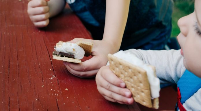Kids eating s'mores