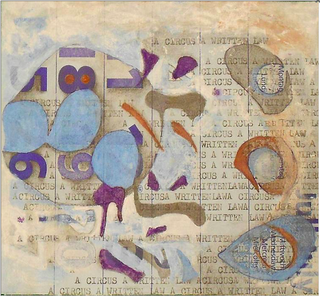 James Halvorson:  A Circus is A Written Law Watercolor, Ink, Typewriting, Graphite 5.5″ x 5.25″