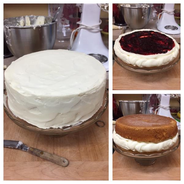 decorating the birthday cake