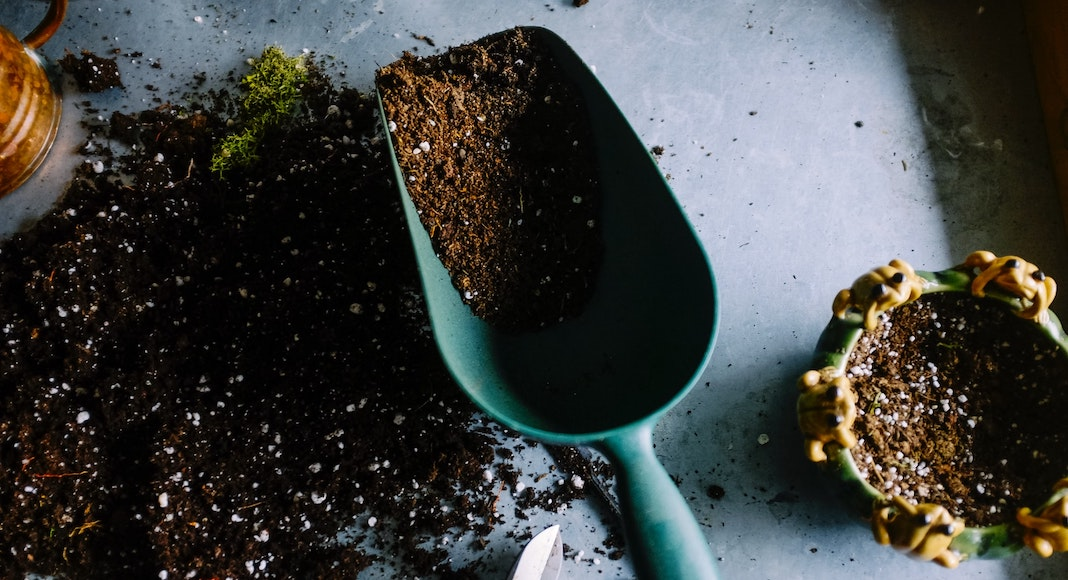 Gardening tools and dirt
