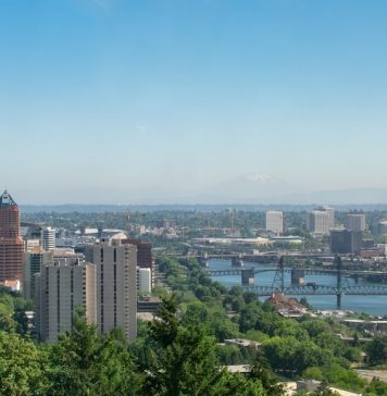 View of downtown Portland in summertime