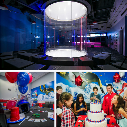 Collage Of Photos For An IFly Birthday Party