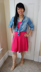 Kat Depner wearing chambray with Betabrand summer vacation dress