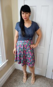 Kat Depner wearing Betabrand summer vacation dress with twisted tee shirt