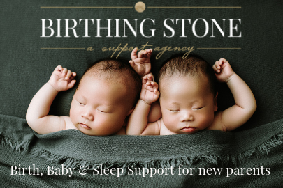 Birthing Stone Doula photo of two babies with logo for Portland Mom & Baby Guide