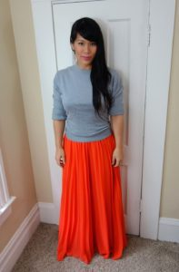 Fall Look: Summer Skirt + Chunky Sweater