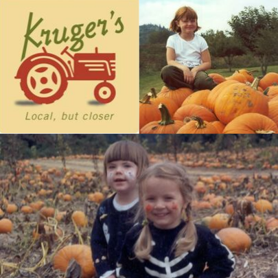 Image of children in a pumpkin patch and logo for Kruger's Farm for Portland-area Pumpkin Patch Guide