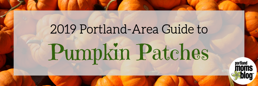 Logo with background of pumpkins for the Portland-area Guide to Pumpkin Patches