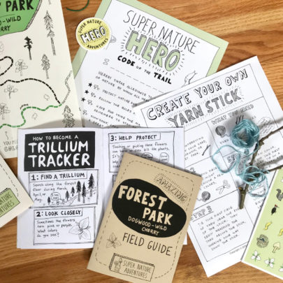 trail packets with activities to complete from Super Nature Adventures