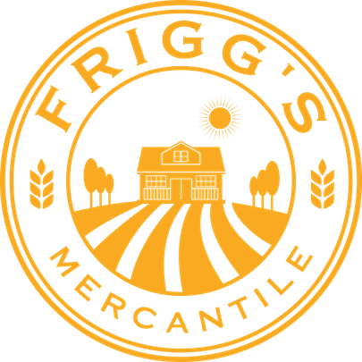Yellow logo with a house inside a circle with the words Frigg's Mercantile