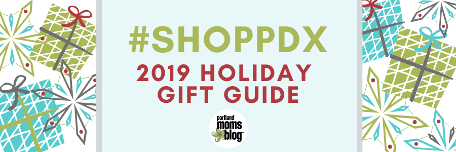 Logo with wrapped gifts and snowflakes with text #shoppdx 2019 Holiday Gift Guide