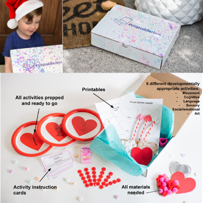 Photo collage of a Tiny Toddler activity box from Confessions of a Tiny Teacher