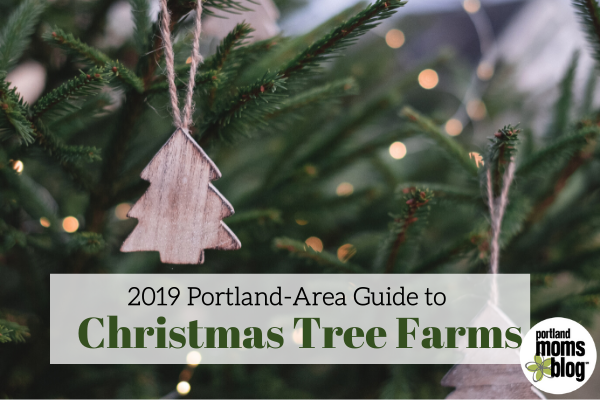 Close up photo of Christmas Trees with wooden ornaments shaped like trees with text that reads 2019 Portland-Area Guide to Christmas Tree Farms