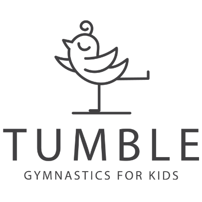Cartoon bird standing on one leg as logo for Tumble Gymnastics for Kids