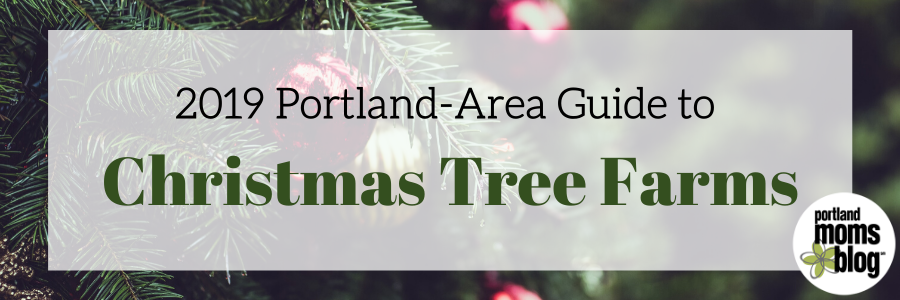Logo for Portland-Area Guide to Christmas Tress with decorated Fir trees in the background