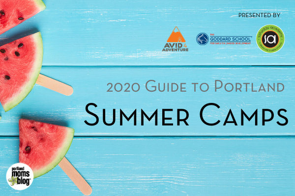 Rectangular image of the logo for the 2020 Guide to Portland Summer Camps