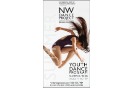 Image of girl in midair with text describing the NW Dance Project's Youth Summer Camp