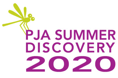 Logo with a dragonfly for Portland Jewish Academy's Summer Discover 2020 camp