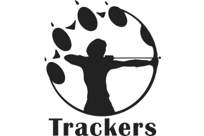 Logo of person shoot an arrow inside an animal paw print for Trackers Earth Summer Camp