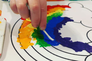 Rainbow Painting with Q-Tip