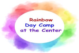 Logo with rainbow of watercolors in a circle with text in the middle that reads Rainbow Day Camp at the Center