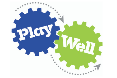Logo with word Play on a blue gear and Well on a green gear for Play-Well TEKnologies LEGO-Inspired Summer Camps