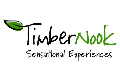 Logo with a Leaf for TimberNook Seasonal Experiences Summer Camps