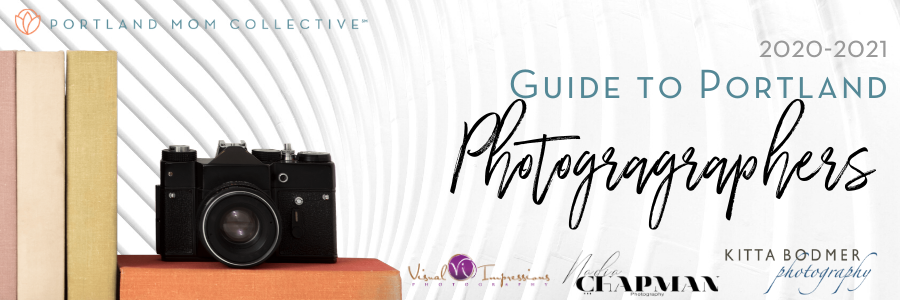 Image of a camera with text that reads PMC 2020-2021 Guide to Portland Photographers presented by Visual Impressions Photography, Kitta Bodmer Photography, and Nadia Chapman Photography
