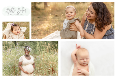 Collage of pictures of expectant moms, newborns, and moms with their babies for Ashley Behm Photography