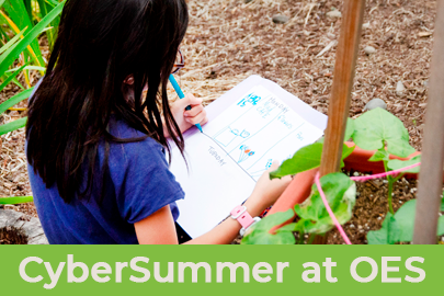 Oregon Episcopal School image of child writing in notebook for Summer Camp with the text CyberSummer at OES underneath