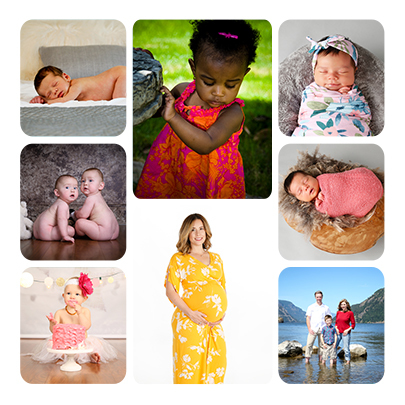 Photo collage of various babies and families from Visual Impressions Photography