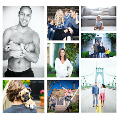 Collage of images including adults, children, and puppies for Kitta Bodmer Photography