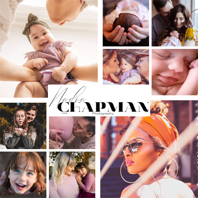Collage of different photos featuring couples, parents, babies, and families with a text lol in the center that reads Nadia Chapman Photography