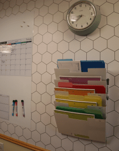 File organizer on wall
