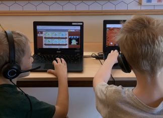 Two kids distance learning
