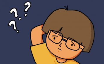 Cartoon of a child in glasses and three question marks.