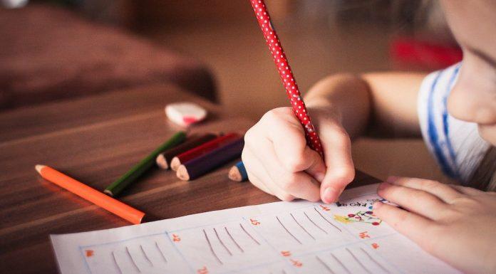 Child practicing writing