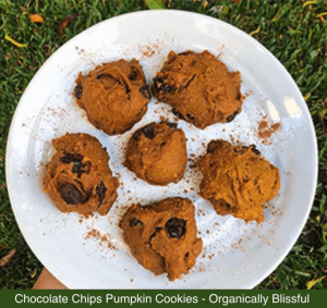 Chocolate Chips Pumpkin Cookies on a plate