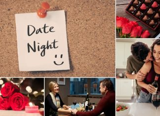 date night note with collage of couples having valentines day at home
