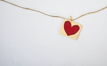 Valentine's Day heart on a string