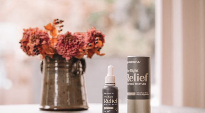 The Right Relief - Bottle and packaging near flowers