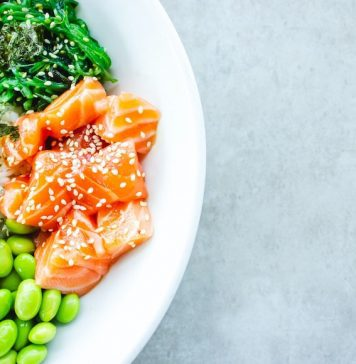 Salmon on a plate of food