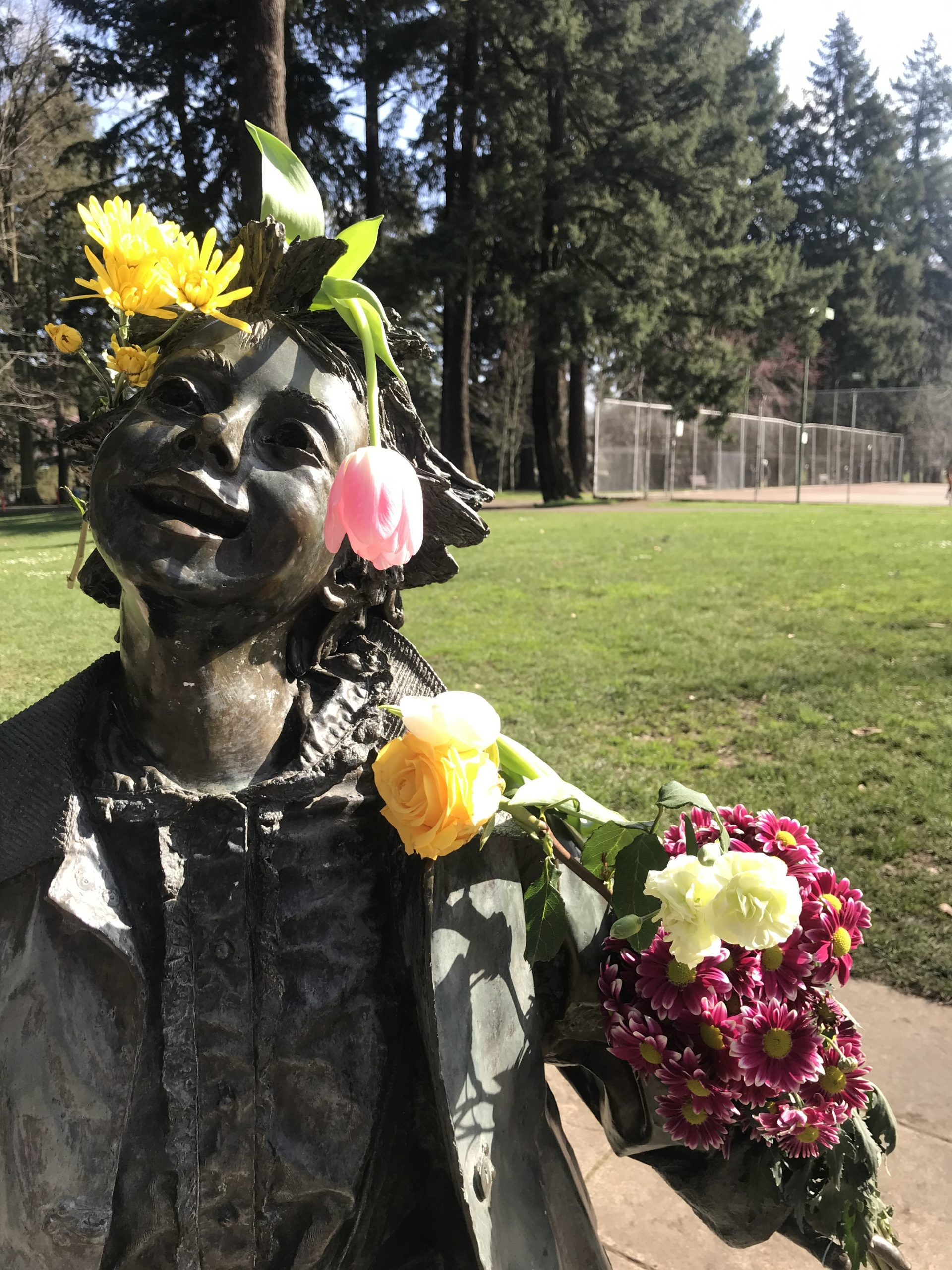 Statue of Ramona with Flowers