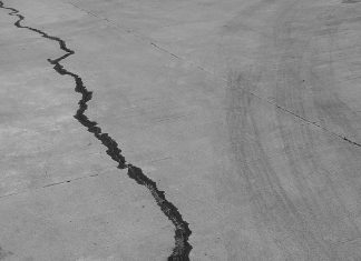 Earthquake crack in cement