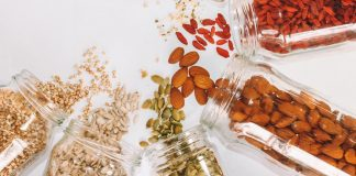 Jars of nuts and grains