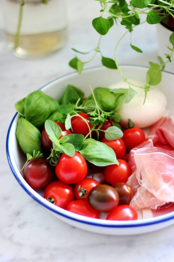 bowl of caprese salad ingredients