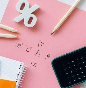 Pencils, calculator, paperwork for tax plans