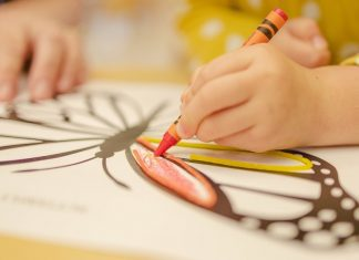 Child coloring butterfly with crayon